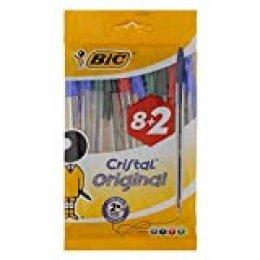 BIC Cristal Original bolígrafos punta media (1,0 mm) – colores Surtidos, Blíster de 8+2 unidades