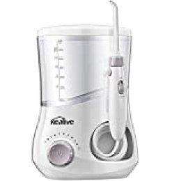 Kealive Water Flosser para dientes, irrigador bucal dental profesional con 12 puntas multifuncionales, limpiador de dientes familiar con depósito de 600 ml, 10 presiones de agua ajustables