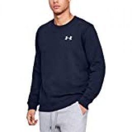 Under Armour Rival Solid Fitted Crew Sudadera, Hombre, Azul (Midnight Navy/White 410), M