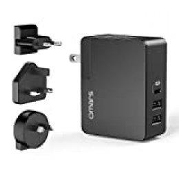 Omars PD 45W Cargador de Pared, con 3 Puertos (2 USB A, 1 USB C) 3 Desmontable Enchufes, Cargador Móvil Rápido para Móviles Tablets De Samsung LG Huaiwei Xiaomi BQ Y Más