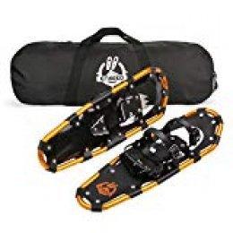 ENKEEO - Raquetas de Nieve 30'', Aleación de Aluminio Ligero con Bolsa de Transporte, Ataduras de Trinquete Ajustables, 76.2 cm de largo, 95.25kg de Capacidad de peso