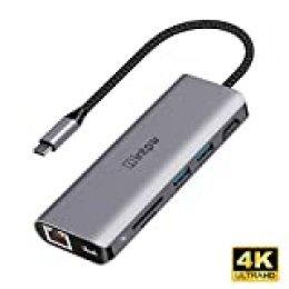 intpw 7-en-1 USB C Hub, 4K USB C a Adaptador HDMI, Gigabit Ethernet, Lector de Tarjetas MicroSD/SD, 2 Puertos USB 3.0, con Suministro de Potencia de 87W, Mate 20, Huawei P10, Galaxy S9/S8 y más