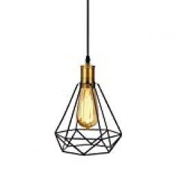 Tomshine Lámpara de Techo Vintage, Industrial Vintage Colgante de Hierro de Luz de Diamante de Arte de la Pirámide de la Lámpara de Techo para el Restaurante Dormitorio Sala de Estudio Loft Pasillo