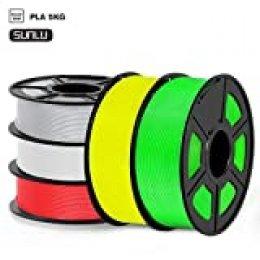 SUNLU Filamento PLA 1.75mm 5kg Impresora 3D Filamento, Precisión Dimensional +/- 0.02 mm, PLA Blanco,Plata,Rojo, Amarillo,Verde