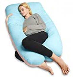 QUEEN ROSE Almohada para el Embarazo, Almohada de Cuerpo Completo para Mujeres Embarazadas, Almohada de Maternidad en Forma de U con Cremallera Funda de Algodón Extraíble (Azul-Rosa)