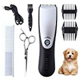 ZENIJUST cortapelos para Mascotas Recargable eléctrico Pet Clipper Kit inalámbrico de Pelo para Mascotas Trimmer Kit de bajo Ruido Cat Hair Shaver
