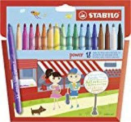STABILO power Rotuladores escolares - Estuche con 18 colores