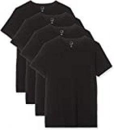 Marca Amazon - MERAKI Camiseta Interior con Cuello Redondo Hombre, Pack de 4