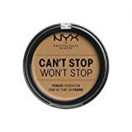 NYX Professional Makeup Polvos de sol Can't Stop Won't Stop Full Coverage Powder Foundation, Acabado mate, Control de brillos, Larga duración, Fórmula vegana, Tono: Golden