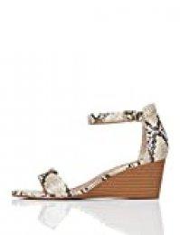 Marca Amazon - Find. Sandalias abiertas de piel para mujer., color Beige, talla 40 EU