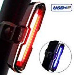 DONPEREGRINO B2 LED Luz Bicicleta Trasera Potente Roja/Azul | Luces Bici MTB Recargable de Alto Brillo para Seguridad de Ciclismo