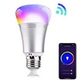 Bombilla inteligente Smart Life E27 LED WiFi RGBW 9W. Compatible con Alexa y Google Home. Luz blanca regulable 2700K-6500K y tonos multicolor ajustable.