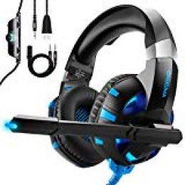 ONIKUMA Auriculares Gaming para PS4 Xbox One o PC con Micrófono y Luz LED, Auriculares de Diadema con Cancelación de Ruido y 7.1 Sonido Envolvente Cascos Gaming Headset para Nintendo Switch Móvil