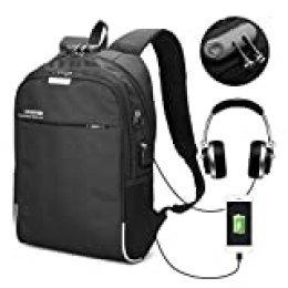 Laptop Rucksack,CAMTOA 35L Computer Rucksack USB Ladeanschluss und Headphone Port, 15.6 Zoll Notebook Theft Rucksack, Ideal Rucksack zur Arbeit, Universität, Outdoor, Urlaub, Reisen