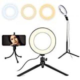 Queta Anillo LED de 8 Pulgadas LED Anillo Luz de llenado de luz sobre el terreno Selfie Beauty Luz para YouTube, Tik Tok, con Soporte de Trípode Extensible