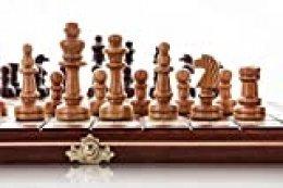 Wooden Magic Única Cereza 30 cm Sistema de ajedrez de Madera Artesanal