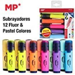 Subrayadores Madrid Papel (MP), 12 Colores Fluorescentes y Pastel Surtidos, Subrayador de Punta Biselada para Adultos y Niños, Jugar y Trabajar en Casa