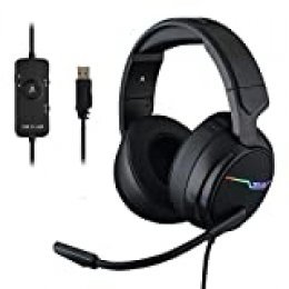THE G-LAB Korp Thallium Cascos Gaming USB 7.1 Digital Surround - Auriculares Gaming Micrófono con cancelación de Ruido, LED RGB - Compatible con PC PS4 Mac (Negro)