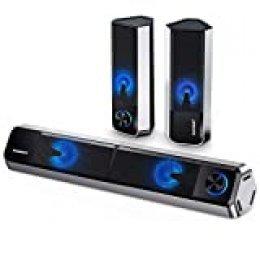 Altavoces PC ELEGIANT, 10W Barra de Sonido Bluetooth 5.0 Sobremesa con Cable USB Estéreo de 2.0 Canales con 4 Modos de Luz LED Altavoz Separable Ajustable para Ordenador Escritorio Fiesta Móvil