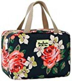 para mujer, bolsa de aseo grande, azul marino y rosa, a prueba de fugas, neceser con diseño floral para chicas Azul Rosa marina. 11.8L×5.1W×7.8H