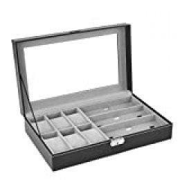 AUTOARK - Caja de cuero para 6 relojes, caja de joyería y 3 piezas de almacenamiento de lentes y gafas de sol, organizador de vitrina, color negro, AW-004