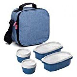 TATAY Urban Food Casual - Bolsa térmica porta alimentos con 4 tapers herméticos incluidos, 3 litros de capacidad, Azul tejano, 22.5 x 10 x 22 cm
