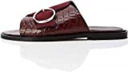 find. Buckle Leather Crocodile Sandalias con Punta Abierta, Rojo Burgundy Croc Mix, 39 EU