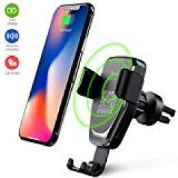 Heiyo Cargador Inalámbrico Coche, Qi Cargador Wireless, Rápida Cargador de Coche Aplicable a Rejillas del Aire para iPhone X/XS/XR/XS MAX iPhone 8/8 Plus, Samsung Galaxy Todo Qi habilitado Smartphone