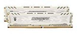 Crucial Ballistix Sport LT BLS2K16G4D30AESC 3000 MHz, DDR4, DRAM, Memoria Gamer Kit para ordenadores de sobremesa, 32 GB (16 GB x 2), CL15 (Blanco)