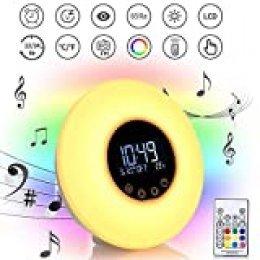 Reloj despertador con luz y puesta de sol, 9 colores, luz de noche de 10 brillos con radio FM, 51 sonidos naturales y función de control táctil, alimentado por USB