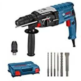 Bosch Professional GBH 2-28 F Martillo perforador, 3.2 J, Ø máximo hormigón 28 mm, portabrocas SDS plus, juego de brocas y cinceles, en maletín, Edición Amazon, 800 W, Azul