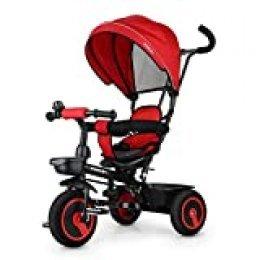 Fascol 7 en 1 Triciclo Bebe con Asiento Giratorio y Ruedas de Gomas, Versión Mejorada Trike para Niños de 12 Meses a 5 Años , Roja