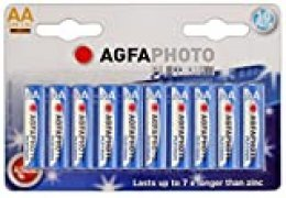 AgfaPhoto 110-803951 - Pilas alcalinas AA, Pack de 10 Unidades (LR06), Gris/Rojo