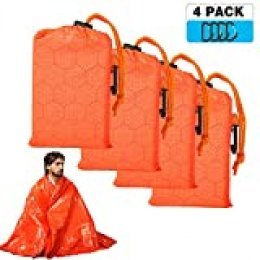 Shayson Manta de Emergencia-Saco de Emergencia Dormir Aislamiento Térmico Exterior Brillante Naranja Fácil de Localizar Portátil,para Acampar Supervivencia Al Aire Libre Pack x 4 uds …