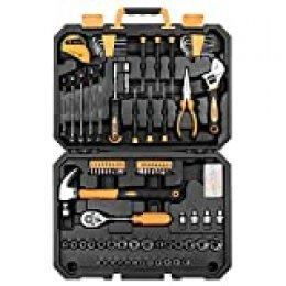 DEKO Juegos de Herramienta de 128 pieza Caja de Herramienta para Hogar,maletin de herramientas profesional para reparación de automóviles, con una caja de Plástico