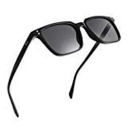 NWOUIIAY Gafas de Sol Unisex para Mujeres y Hombres Liviano pero Duradero de Marco de Nylon Anteojos de Sol Retro Vintage con Lente TAC 100% UV 400 (Negro)