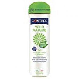 Control Wild Nature 3 en 1 - Gel de masaje corporal con aroma a té negro - 200 ml - Ingredientes naturales - Tapón Masajeador - Base acuosa - Compatible con el preservativo - Hidratante - No mancha