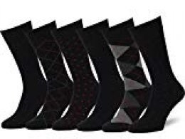 Easton Marlowe 6 PR Calcetines Sutilmente Estampados Hombre - 6pk #4-2, Negro - 43-46 talla de calzado UE