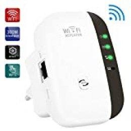 Repetidor WiFi, 300Mbps Extensor WiFi, Amplificador WiFi 2.4GHz con Repertidor/Ap Modo y la función WPS, 1 Puerto Fast Ethernet Wireless Amplificador