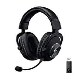 Logitech G PRO X Auriculares Inalámbricos Lightspeed Gaming, Micrófono Blue Voice, 50mm Pro-G Drivers, DTS X 2.0 Sonido Envolvente, Batería 20+ Horas, Almohadillas de cuero, Tarjeta USB, PC/Mac, Negro