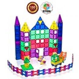 Playmags  - Mega Set de 150 piezas: Ahora con Imanes más Fuertes, Robusto, Súper Duradero con Azulejos Vivos de Colores Claros - 18 Piezas de Accesorios Clickins para Mejorar tu Creatividad