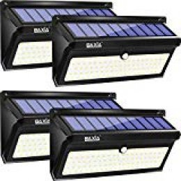 Luz Solar Jardín, BAXiA 2000LM Luces Solares de Seguridad, Foco Solar con Sensor Movimiento de Impermeables IP65, Lámparas Solares para Jardín Patio Camino- 100LED 4Piezas