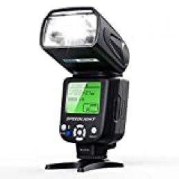ESDDI Flash de Cámara con Múltiple, Pantalla LCD para Canon Nikon Panasonic Olympus Pentax y Otras Cámaras DSLR con Zapata Estándar