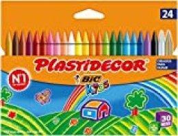 BIC Kids Plastidecor- Blíster de 24 unidades, ceras para colorear, colores surtidos