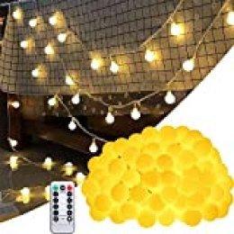 BETECK Guirnalda Luces, Luces de Cadena Impermeable 10M 100 LED 8 Modos Decorativas para Exterior, Interior, Jardines Fiesta de Navidad, Luz de Hadas Intensidad Regulable (Blanco)