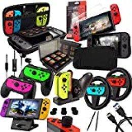 Orzly Kit Accesorios para Nintendo Switch Geek Pack con: Funda y Protector de Pantalla Switch, Empuñaduras & Volante para mandos Joy-con, Una Base de Carga USB y Un Soporte portátil, y más. [Negro]