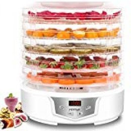 MiMiya Deshidratador de Alimentos Profesional de 5 Bandejas con Capacidad Extendida, 35-70 °C de Temperatura para Carne Seca, Fruta, Vegetal, Nueces y Yogurt Libre de BPA 240W