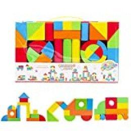 deAO Bloques de Construcción Gomaespuma Juguete para Aprendizaje Creativo Infantil Conjunto de Cubos Multicolores 131 Piezas