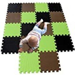 MQIAOHAM juego de enclavamiento juego de bebé tapetes para niños tapetes para niños foammats playmats estera del rompecabezas bebé niños tapete tapete tapete negro Marrón Frutaverde 104106115