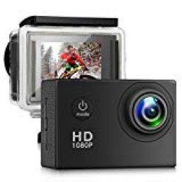 AGracy Cámara Deportiva Acción 1080P Full HD 2.0 LCD Pantella Cámara Impermeable 140 Grados Gran Ángulo Sumergible 30m y 20 Accesorios Multiples